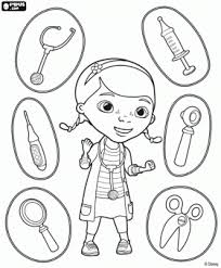 Dottie Doc Mcstuffins With The Medical Instruments Coloring Page