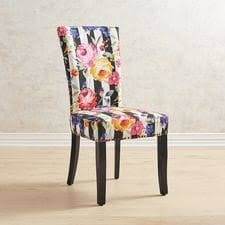 black wood dining chair. Adelaide Remy Floral Stripe Dining Chair With Rubbed Black Wood N
