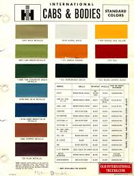 1969 Standard Colors Color Charts Old International Truck