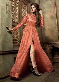 Front Open Salwar Designs Beauteous Net Peach Print Work Designer Suit