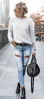 Fantastic long sleeve outfit winter ideas White Jeans winter outfits Gray Longsleeve Shirt And Blue Distressed Jeans Outfit Pinterest 100 Awesome Winter Outfits That Always Looks Fantastic Outfit