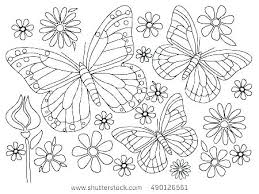 Printable Coloring Pages Of Flowers And Butterflies Flower Printable Coloring Pages Free Colouring Spring