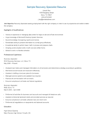 Sample Recovery Specialist Resume Resame Pinterest Recovery