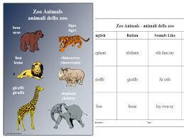 Italian Worksheet and Poster - Zoo Animals - animali dello zoo ...