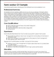 Livecareer Co Uk Farm Worker Cv Sample Myperfectcv