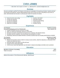 Tax Preparer Resume Sample