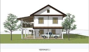 THAI ARCHITECT    S HOUSE PLANS TO BUILD OUR HOUSE IN THAILAND    image of the view from the side of the Architect    s model of the house