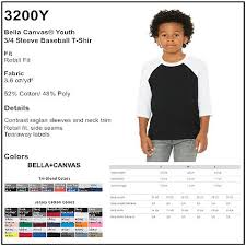 Personalize Bella Canvas 3200y Youth 3 4 Sleeve Baseball Tee