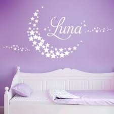 moon made of stars personalised name nursery wall art sticker
