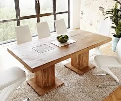 Esszimmertisch Indra Akazie Natur 200x100 Cm Massivholz Säulentisch
