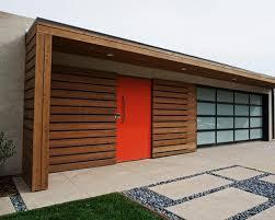 Mid century modern garage door New Glass Garage Door And Red Painted Front Door Lushome Retro Garage Door Decoration Ideas And Modern Designs For Mid