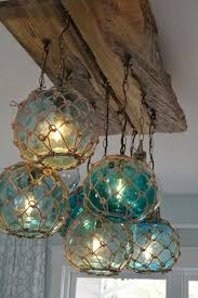 cool lighting fixtures. Vintage Glass Fishing Float Light Fixture, Chandelier With 7 Floats/Lights Cool Lighting Fixtures