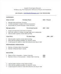 Chronological Order Resume Chronological Resume Reverse
