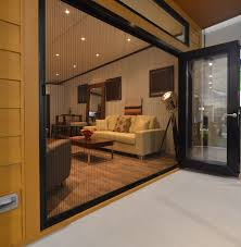 slide clear retractable screen door at sunset insect protection
