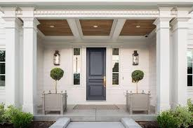 blue front doorsPortico with Dark Blue Front Door  Transitional  Home Exterior