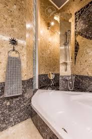 Ethnische Badezimmer Interieur Mit Gold Und Grau Colous Mit Großer