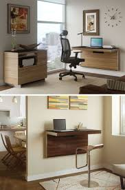 Home Office Ideas:Diy Black Wall Mounted Computer Desk Hidden Desk Design  Space Saving Area