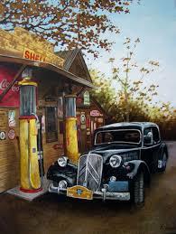gas station vintage car art classic old motors painted in oils original