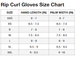 Rip Curl E Bomb Size Chart Rip Curl E Bomb 2mm Neoprene Gloves