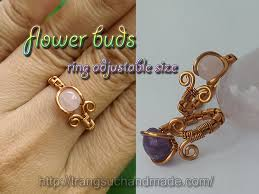 simple flower buds ring adjule size women day gift diy wire jewelry 321