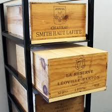 wine bottle case rack metal wood 5 drawer