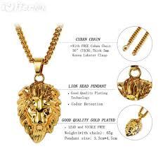 uni 18k gold lion head pendant chain hiphop necklace