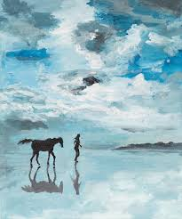 peaceful scene man and horse running on water stock ilration ilration of quiet