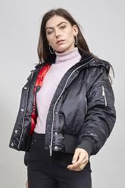 retro nike black padded satin hooded er jacket