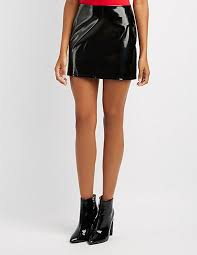 charlotte russe faux patent leather mini skirt womens 52682 29002 black larger image