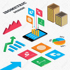 Isometric Design Graph And Pie Chart Golf Ball Icons Fireball