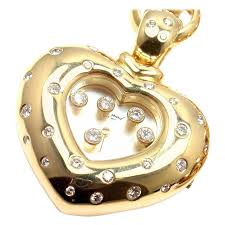 chopard happy diamond yellow gold heart shape watch pendant necklace for