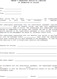 30 day notice to landlord form tenant 30 day notice to vacate real estate forms