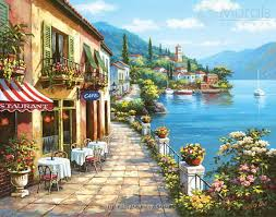 sung kim overlook cafe i painting is shipped worldwide including stretched canvas and framed art this sung kim overlook cafe i painting is available at