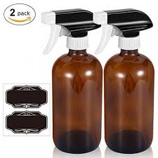 16 oz amber glass spray bottles with mist and stream setting sprayer chalkboard labels 2pcs