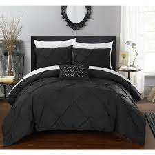 chic home whitley black pinch pleated 4 piece duvet cover set free today com 19172688