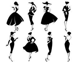 Woman Lady Fashion Girl Retro Vintage Retro Style Silhouettesvggraphicsillustrationvectorlogodigitalclipart