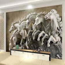 <b>3D Stereo Relief Horse</b> Mural Wallpaper Living Room TV Sofa ...