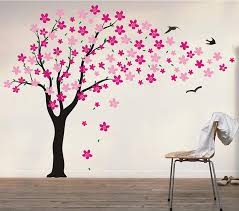 >amazon pop decors drifting flowers and birds tree wall decals  pop decors drifting flowers and birds