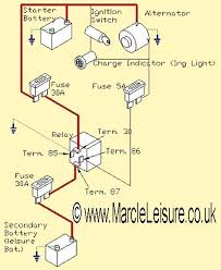 split charge circuits marcleleisure co uk i have coloured the main cable red which is most likely the same as your vehicle however the other vehicle cables will be a variety of colours