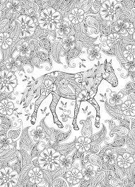 Kleurplaat In Geïnspireerde Stijl Rennen Paard Op Bloeiende Weide