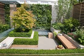outdoor gardens. garden bench in small patio with plantings, green wall of vertical perennials and ferns outdoor gardens t