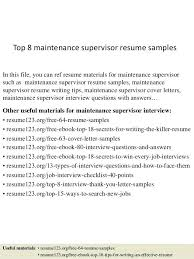 Maintenance Supervisor Resume Noxdefense Com