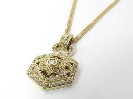 vintage bita 14k yellow gold diamond pendant necklace 1 44 carats 16