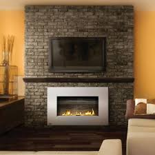 fireplace appealing vent free gas fireplace on bricks stone wall plus tv wall mount modern
