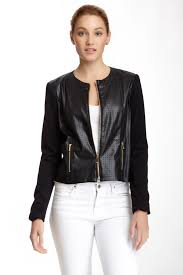 image of jones new york perforated faux leather jacket petite size