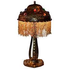art deco lamp. Austrian Art Nouveau Lamp With Jewelled Shade Deco