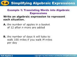 example 1 translating words into algebraic expressions