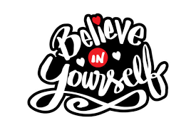 Be kind to yourself black and white hand lettering inscription. 1 Believe Yourself Designs Graphics
