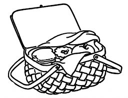 Vintage line art drawing picnic basket the graphics fairy