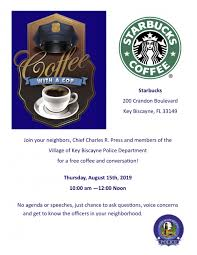 Coffee With A Cop Flyer Coffee With A Cop At Starbucks Village Of Key Biscayne